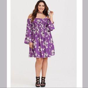 Torrid Floral Cold Shoulder Dress